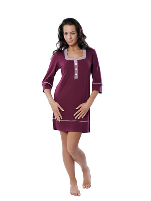 Ladies' night dress 3/4 sleeve